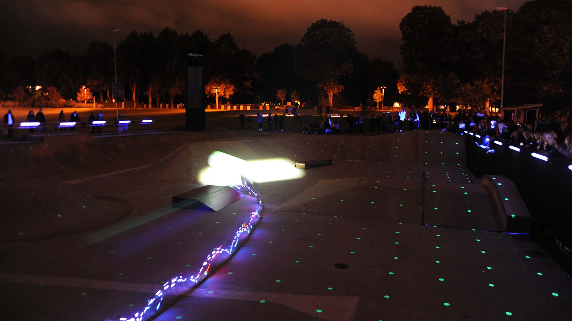 Urban skate park italia luce light design evento illuminazione